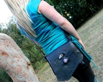 RESERVED Recycled Leather Satchel Black Leather Handbag with Chunky Clear Quartz and Amethyst
