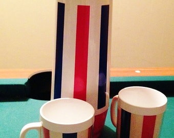 Thermo-Serv Red, White, and Blue Thermos and 2 Matching Mugs