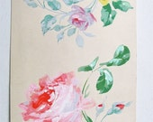 SALE Art Nouveau French Painting, Pink Roses, Yellow Roses, Valentines Gift, Gauche Paint with Pencil, Hand Painted on Paper, Feminine