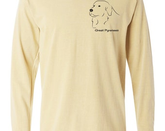 Great Pyrenees Garment Dyed Cotton Long Sleeve T-shirt