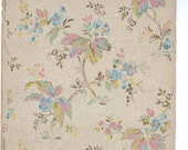 REMNANT of Vintage Wallpaper, Single 46 Inch Piece - Segmant of Floral Wallpaper with Pastel Leaves and Flowers of Pink Blue Green on Tan