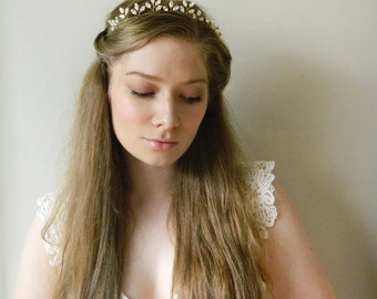 Navette Crystal Leaf Tiara 'Fay' - Hand wired Swarovski crystal headpiece - style 019