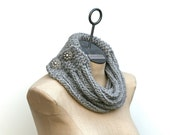 MORE COLORS Wool Roving Statement Necklace Hand Knit I-cord Cowl Infinity Scarf Buttons Women Fall Winter Accessory Bohemian Boho Chic