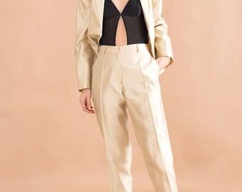 Champagne blazer suit // 90s // S/M size