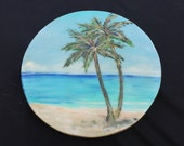 Palm Trees Lazy Susan. Caribbean Beach, Tropical Painting, Kitchen Art, Resort Style, Hand Painted, Lazy Sue, Turntable by Janet DIneen