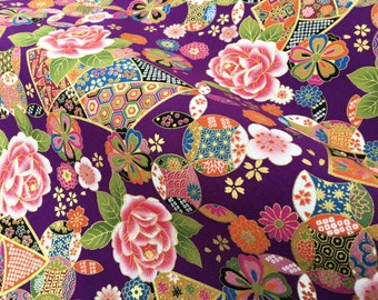 Japanese fabric, geometric purple, cotton half a yard, japan fabrics by the yard, tissu japonais, kawaii quilt, yukata fabric, kimono tissu