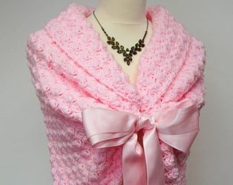 Pink Shrug, Bridal Bolero, Wedding Jacket, Crochet Shawl, Pink Bolero, Bridal Cover Up, Wedding Bolero Jacket, Romantic Wedding Shawl