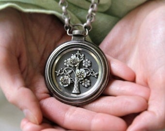 Tree of Life, Pocket Watch Necklace, Antique Button Necklace long, Heirloom Jewelry Victorian Pendant Chunky Upcycled Jewelry veryDonna