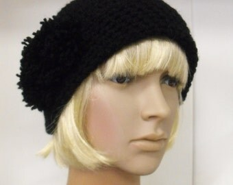 Crocheted Pompom Cloche - Made to Order - 12 Colours to Choose From