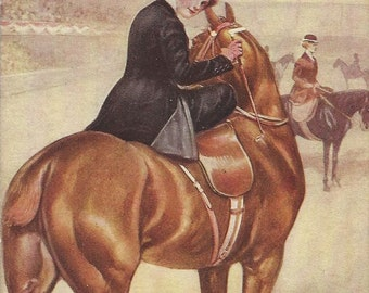 The Prize Winner - Antique 1910s Unsigned Side Saddle Equestrienne and Horse Postcard