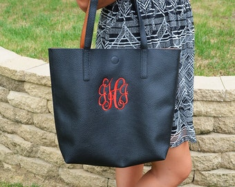 Monogram Purse, Embroidered Monogram Leather Tote Bag, Monogram Faux Leather Tote Bag, Monogrammed Handbag, Monogrammed Purse, Totebag Purse