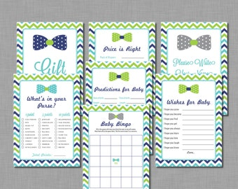 Bow Tie Baby Shower Games In Navy Lime And Turquoise Benjamin BD58  Printable   Instant Download