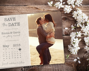 Save The Date Magnet, Card or Postcard - Burlap Calendar