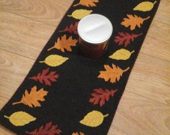Fall leafs penny rug original design runner leaves