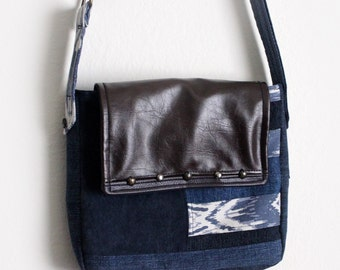 Upcycled Messenger Bag Denim and Leather Patchwork Studded Purse Unique Handmade Ecofriendly