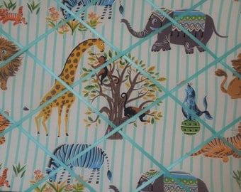 Striped Safari fabric french memo board - 16x20 - Unframed