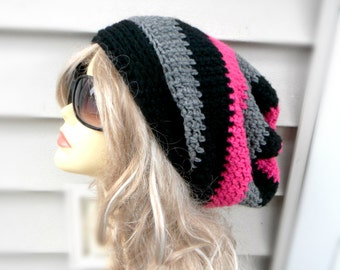Crochet Slouchy Hat, Multi Color Slouchy Beani, Black, Pink, Grey Womens Hat, Winter Accessories
