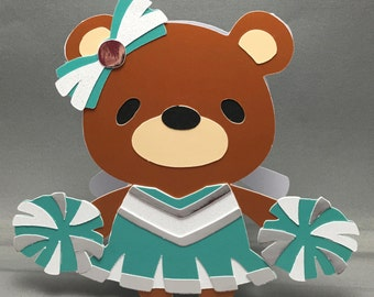 Green Cheerleader with Green and Silver Pom Poms Teddy Bear Shaped Blank Card