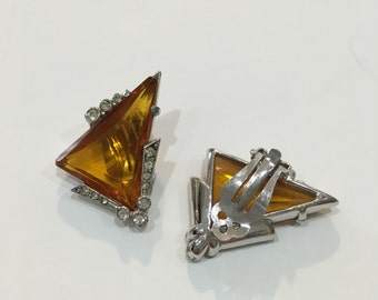 Vintage Signed Schiaparelli Earrings - Tangerine Stone Clip Ons with Rhinestone Accents