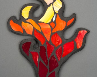 Stained Glass Mosaic Wall Art: Hand of Flame