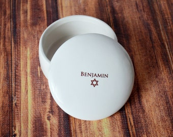 Personalized Bar Mitzvah Gift or Bat Mitzvah Gift  - Round Keepsake Box - With Gift Box