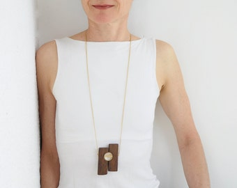 Wood pendant necklace, Wood and gold necklace,  Wooden necklace, One-Of-A-Kind, Long gold necklace, Wood jewelry gift, Statement necklace