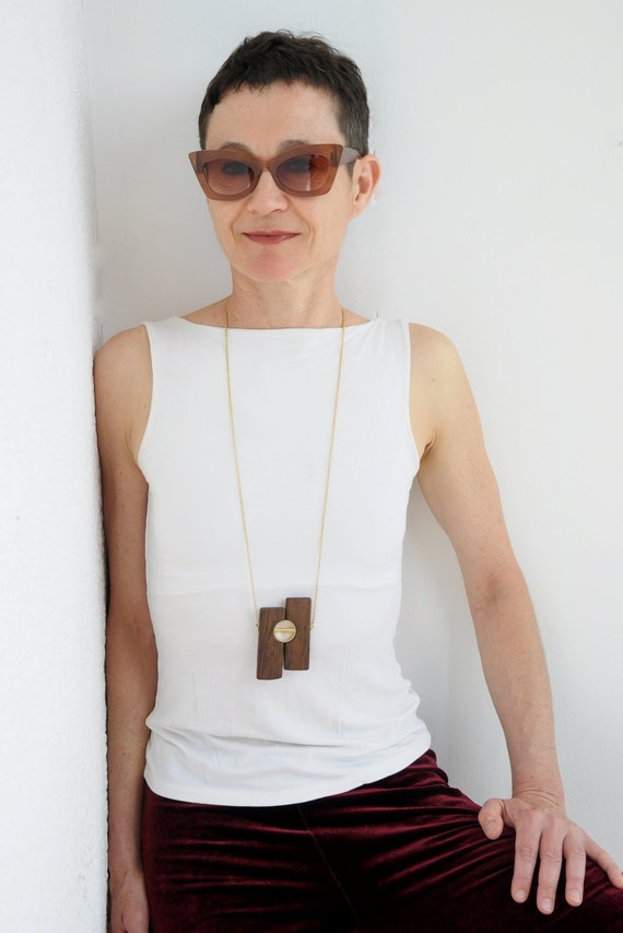 Wood pendant necklace, Wood and gold  jewelry, One of a kind, Long gold necklace, Hand crafted jewelry, Free shipping