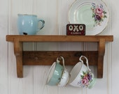 Reclaimed wooden Shabby Chic vintage style handmade shelf with 3 small shaker pegs NIK NAK
