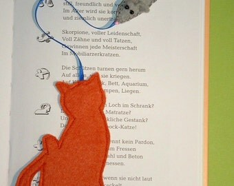 Bookmark of felt mouse & cat for cat lovers - cat - mouse - bookmark - felt