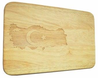 Bread Board Turkey Türkiye breakfast Board - breakfast board Turkey - engraving - wood