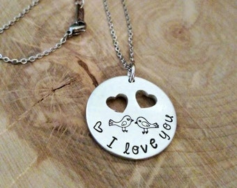 I love you necklace, best friend  necklace, girlfriend necklace, gift for girlfriend, bird necklace, sister necklace, mother daughter set