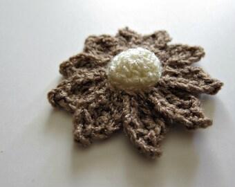 "1pc 3"" Crochet Beige DOME DAISY Applique"