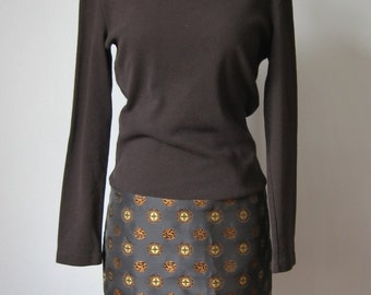 Vivienne Tam Dress / Vtg 90s / Black and Gold All Cotton Body Con Vivienne Tam Dress