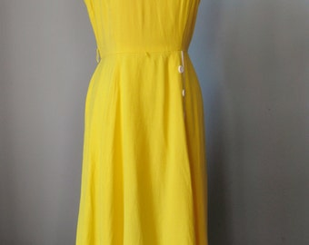Yellow Linen Dress / Vtg / Talbots Linen Blend Sleeveless Dress / Bright Yellow Dress / Summer Dress