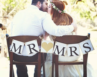 Wedding Chair Sign, Chair Signs, Mr and Mrs Chair Sign, Mr and Mrs Sign, Mr and Mrs table Sign, Bride and Groom, Mr and Mrs, Wedding Signs