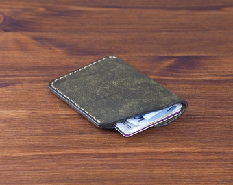 Leather Card Holder - distressed leather wallet oily Italian vegetable tanned leather  (Forest) - DHK GOODS