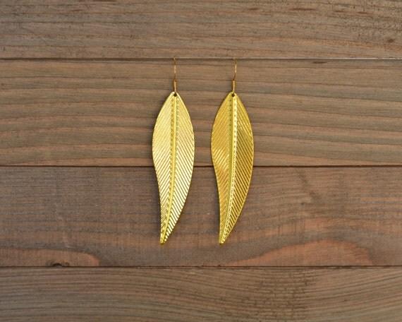 LAST ONE - Gold Leaf Earrings - Long Gold Dangle Earrings - Gold Statement Earrings - Gold Metal Earrings - Flat Gold Lightweight Earrings