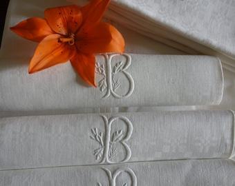 "6 Superb Large Old Linen Napkins White Monogram Damask ""B"" , Antique French circa 1900/1910 -"