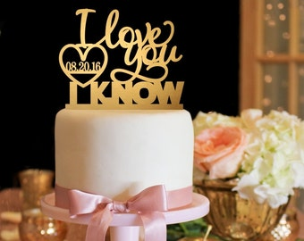 Star Wars Cake Topper - I Love You I Know Wedding Cake Topper - Gold Cake Topper