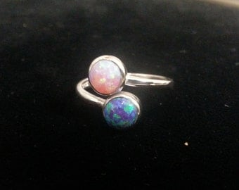 Pink and Purple Synthetic Opal Sterling Silver Bypass Ring