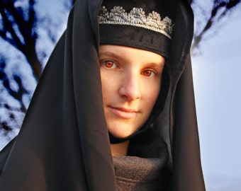 MADE TO ORDER - Medieval headdress noble black veil nun gala nocturna gothic silver age of redemption dark wimple veil larp renaissance