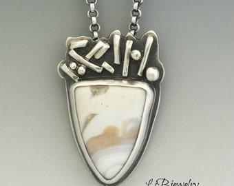 Silver Necklace, Ocean Jasper Pendant, Sterling Silver, Ocean Jasper, Metalsmith, Metalwork, Artisan Jewelry, Handmade, Wearable Art