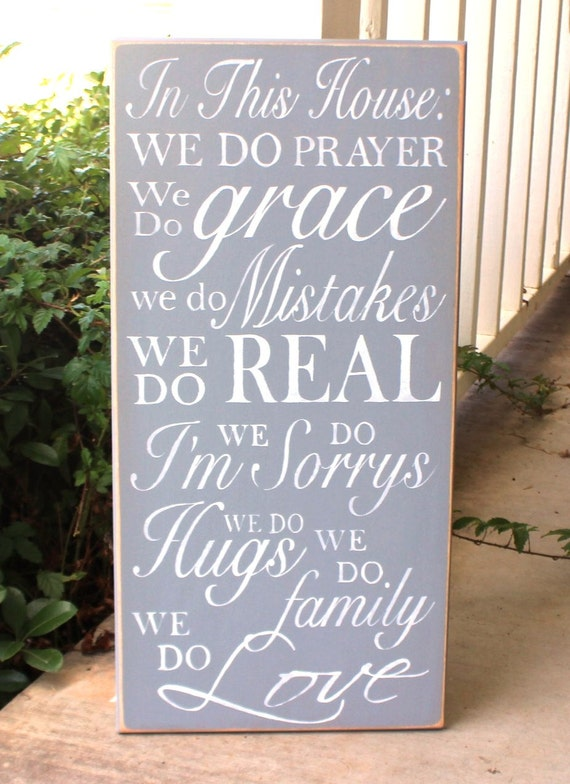 In This House: We do PRAYER, ... We Do family, We Do LOVE - Family Rules- House Rules  12 x 24 - Subway Art - Large Hand painted sign -Gray