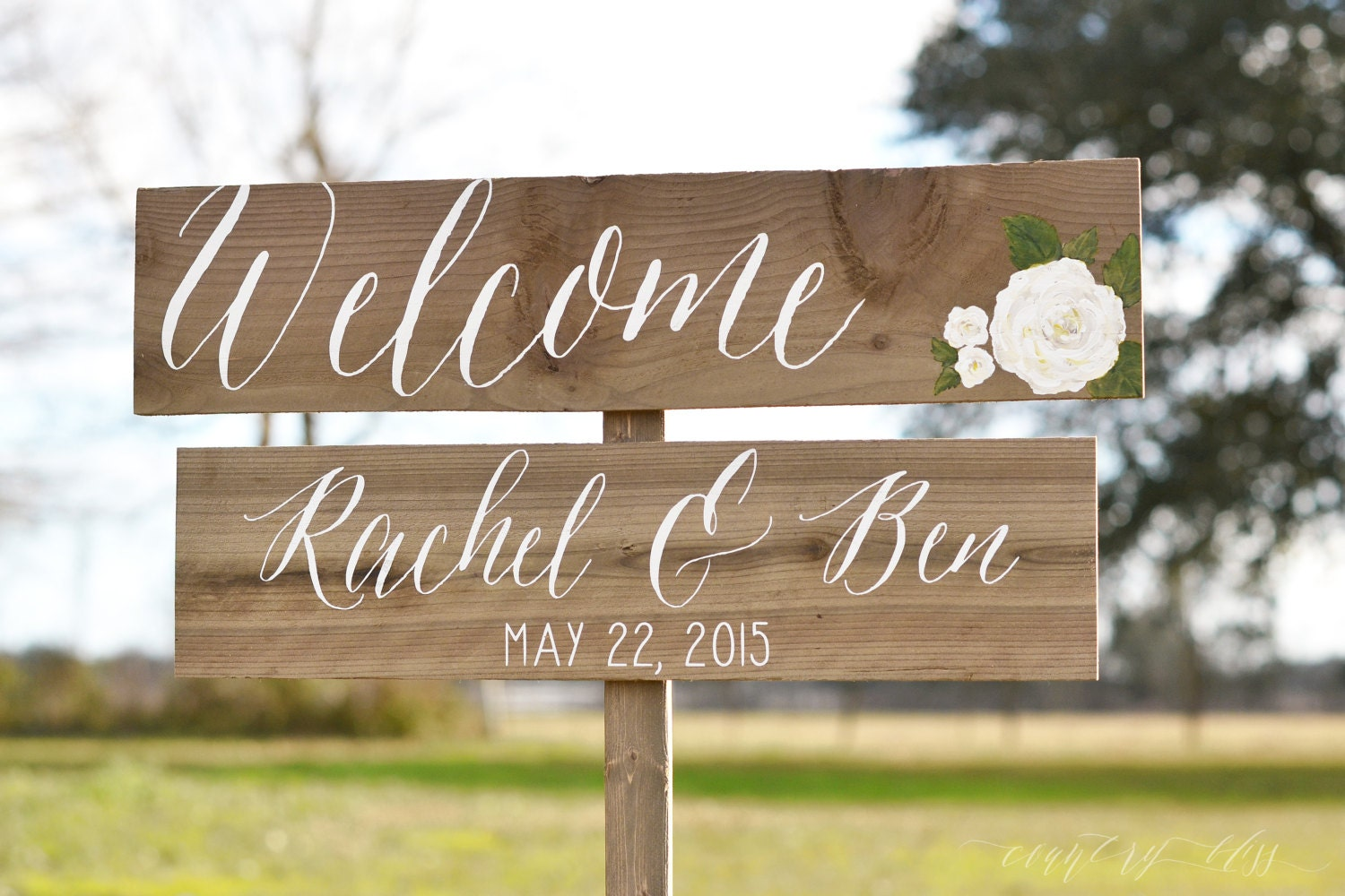 Wedding welcome sign calligraphy flower