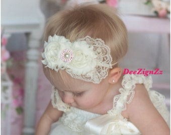 Girls Hair Accessories-Ivory-Shabby-Flower Headband-Wedding-Bridal-Flowers for Hair-Lace-Pearls-Flower Girl-Baby-Infant-Baptism-Christening