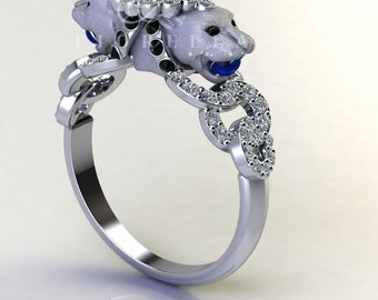 Blue Sapphire Double Headed Panther Diamond Engagement Ring with Diamond Halo 14K Gold Black Diamonds