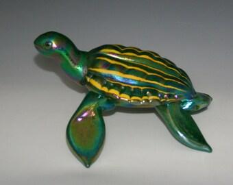 Blown Glass Sea Turtle - Green/yellow