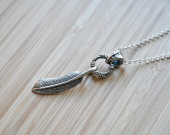 Feather necklace, sterling silver feather pendant, boho necklace, long necklace, layering, gift for men, gift for her - voodoo child
