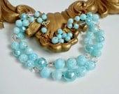 Blue Bead Necklace, Light Aqua Blue with Aurora Borealis Beads, Signed GERMANY, Double Strand Vintage Beaded Necklace