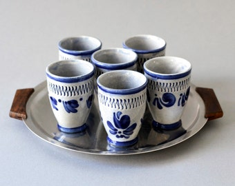 Vintage pottery shot glasses shooters West German set Mid Century modern 70s grey blue bar entertaining